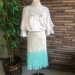 Ashro White Satin Top and Lace Skirt Outfit XL